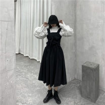 Women's large Winter 2020, autumn 2020 White shirt, black strap skirt M (85-100 kg), l (100-120 kg), XL (120-140 kg), 2XL (140-160 kg), 3XL (160-180 kg), 4XL (180-200 kg recommended) Dress Two piece set commute easy moderate Socket Long sleeves Solid color Korean version other routine other other