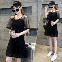 Dress Summer 2021 black M,L,XL,2XL Mid length dress singleton  Short sleeve commute Crew neck High waist Solid color Socket A-line skirt Flying sleeve Others 25-29 years old Type A Other / other Korean version Bright silk, gauze FZ2110 More than 95% polyester fiber