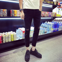 Jeans Youth fashion Others Eight broken black word broken black word broken white Thin money Micro bomb Thin denim Ninth pants Other leisure teenagers