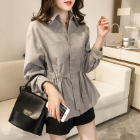 Women's large Spring 2021 Blue, gray M [recommended 80-100 Jin], l [recommended 100-120 Jin], XL [120-140 Jin], 2XL [140-160 Jin recommended], 3XL [160-180 Jin recommended], 4XL [180-200 Jin recommended] Jacket / jacket singleton  commute easy moderate Cardigan Long sleeves Solid color Korean version