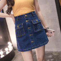 skirt Summer of 2018 S,M,L,XL,2XL,3XL,4XL,5XL Picture color, blue 2588 Short skirt Versatile High waist A-line skirt Solid color Type A other Pocket, button