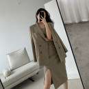 suit Spring 2021 Brown (suit), brown (dress) S,M,L Long sleeves routine Straight cylinder tailored collar double-breasted commute routine Solid color G101296 Three dimensional decoration, buttons, stitching