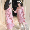 Nightdress Other / other 603 pink, 603 blue 160(M),165(L),170(XL),175(XXL) Cartoon Middle sleeve pajamas Middle-skirt summer Cartoon animation youth Small lapel Polyester (polyester) printing More than 95% Seldingham Mbn-603 powder 200g and below