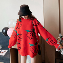 Women's large Autumn 2020 Apricot, red, black L [90-110 Jin], XL [110-130 Jin], 2XL [130-150 Jin], 3XL [150-170 Jin], 4XL [170-200 Jin] singleton  commute easy thick Long sleeves other Retro wool routine 25-29 years old 51% (inclusive) - 70% (inclusive)