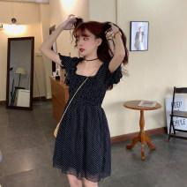Women's large Spring 2020 Black dots Large L, large XL, m, 2XL, 3XL, 4XL Dress Sweet thin Medium length
