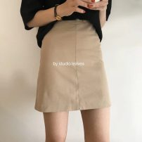 skirt Summer of 2018 S M L Black apricot Camel Short skirt commute High waist A-line skirt Solid color 18-24 years old other Korean version