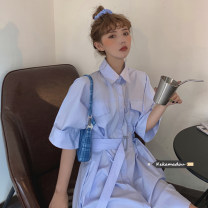 Dress Summer 2021 Blue, rose powder Average size Short skirt singleton  Short sleeve commute Polo collar High waist Solid color Single breasted routine 18-24 years old Korean version