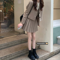 suit Spring 2021 Khaki suit, black suit, khaki suspender skirt, black suspender skirt, apricot shirt S. M, l, average size Long sleeves routine Self cultivation tailored collar Single breasted commute routine Solid color 18-24 years old Other / other