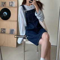Dress Spring 2021 navy blue S,M,L Short skirt singleton  Sleeveless commute square neck High waist Solid color Socket straps 18-24 years old Type A Other / other Korean version 71% (inclusive) - 80% (inclusive)