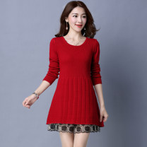 Wool knitwear Spring of 2019 S,M,L,XL,2XL,3XL Black, gray, red, yellow Long sleeves singleton  Socket cotton 51% (inclusive) - 70% (inclusive) Medium length thickening commute easy Low crew neck routine Solid color Socket Korean version Tranquil