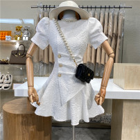 Dress Summer 2021 white S, M Mid length dress singleton  Short sleeve commute High waist Solid color zipper A-line skirt puff sleeve 18-24 years old Type A First Sight 31% (inclusive) - 50% (inclusive)