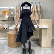 Dress Summer 2021 Black, white Average size Mid length dress singleton  Sleeveless commute Solid color zipper Irregular skirt camisole 18-24 years old Type A First Sight 31% (inclusive) - 50% (inclusive)