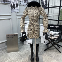 Dress Autumn 2020 Apricot S,M,L Mid length dress singleton  Long sleeves commute High waist zipper A-line skirt pagoda sleeve 18-24 years old Type A First Sight 31% (inclusive) - 50% (inclusive)