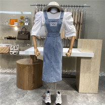 skirt Summer 2021 S, M wathet Mid length dress commute High waist Strapless skirt Solid color Type A 18-24 years old 31% (inclusive) - 50% (inclusive) other First Sight