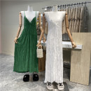 Dress Summer 2021 White, green, black Average size longuette singleton  Sleeveless commute V-neck Loose waist Solid color Socket 18-24 years old Type H First Sight 31% (inclusive) - 50% (inclusive)