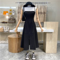 Dress Summer 2021 black M, L Mid length dress singleton  Sleeveless commute High waist Solid color zipper A-line skirt camisole 18-24 years old Type A First Sight 31% (inclusive) - 50% (inclusive)