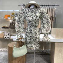 Dress Spring 2021 Green, orange S, M Mid length dress singleton  Long sleeves commute stand collar High waist Leopard Print zipper One pace skirt pagoda sleeve 18-24 years old Type A First Sight 31% (inclusive) - 50% (inclusive)