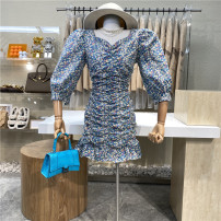 Dress Spring 2021 Blue, red M, L Mid length dress singleton  elbow sleeve commute V-neck High waist Broken flowers zipper One pace skirt puff sleeve 18-24 years old Type A First Sight 31% (inclusive) - 50% (inclusive)