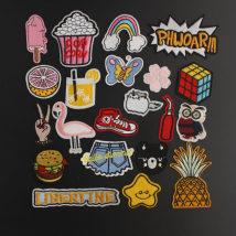Cloth stickers No.1 popsicle No.2 orange No.3 popcorn No.4 bird No.5 hamburger No.6 hand No.8 shorts No.9 shoes No.10 liberty No.11 butterfly No.12 rainbow No.13 phworr No.14 cat No.17 bear head No.19 Rubik's cube No.21 cola