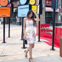 Dress Summer of 2019 Decor S,M,L,XL Middle-skirt singleton  Sleeveless Sweet V-neck High waist Decor zipper camisole 25-29 years old Sanshun Aimei 81% (inclusive) - 90% (inclusive) Bohemia
