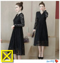 Dress Spring 2020 black singleton  Long sleeves commute Solid color Type A Lace