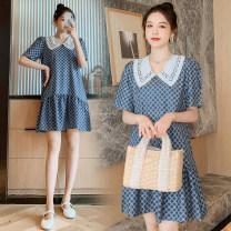 Nursing clothes Blue pregnant women, blue lactation M,L,XL,2XL Other / other Socket Short sleeve