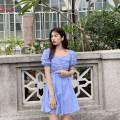 Dress Summer 2021 Blue - check S,M,L Short skirt singleton  Short sleeve commute square neck High waist lattice zipper A-line skirt puff sleeve Others 25-29 years old Type A Deng Liuliu Pleat, fungus, zipper More than 95% cotton