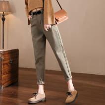 Casual pants S,M,L,XL,2XL,3XL Autumn 2020 trousers Overalls High waist Versatile routine 25-29 years old 91% (inclusive) - 95% (inclusive) cotton pocket cotton