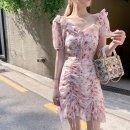 Dress Summer 2021 Pink dress S,M,L,XL Middle-skirt singleton  Short sleeve commute Lotus leaf collar High waist Broken flowers Socket puff sleeve Others 18-24 years old Type A Korean version 31% (inclusive) - 50% (inclusive) Chiffon other