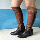 Boots Black + brown top layer leather Low heel (1-3cm) Flat heel top layer leather Over the knee Round head cloth cloth Autumn 2020 Side zipper Europe and America rubber Color matching Fashion boots Adhesive shoes Pig skin Youth (18-40 years old) spring and autumn routine