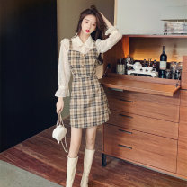 Dress Spring 2021 Shirt + suspender skirt S,M,L,XL Mid length dress singleton  Long sleeves commute High waist Socket A-line skirt 18-24 years old Type A Korean version 91% (inclusive) - 95% (inclusive)