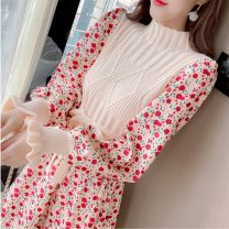 Dress Winter 2020 S,M,L,XL Mid length dress Fake two pieces Long sleeves commute middle-waisted Decor Socket A-line skirt pagoda sleeve 18-24 years old Type A lady Splicing 51% (inclusive) - 70% (inclusive) corduroy