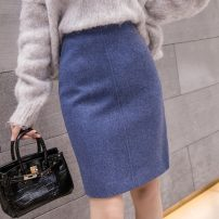 skirt Winter 2020 S,M,L,XL,2XL Apricot, blue, black Short skirt commute High waist A-line skirt Solid color Type A 18-24 years old 51% (inclusive) - 70% (inclusive) Wool other zipper Korean version