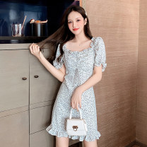 Dress Summer 2021 Black flower, white flower S,M,L,XL Short skirt singleton  Short sleeve Sweet square neck High waist Broken flowers Socket A-line skirt pagoda sleeve Others 18-24 years old Type A Lotus leaf edge 51% (inclusive) - 70% (inclusive) Mori