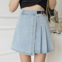 skirt Summer 2021 S,M,L,XL Blue, black Short skirt commute High waist Irregular Solid color Type A 18-24 years old 51% (inclusive) - 70% (inclusive) Denim cotton Korean version