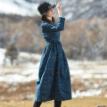 Dress Winter of 2018 Blue ground geometric pattern, blue ground geometric pattern Plush M, L longuette singleton  Long sleeves commute stand collar Loose waist Single breasted routine Type H Other / other Retro YFYM-S837 51% (inclusive) - 70% (inclusive) cotton