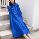 Dress Autumn 2020 Paris blue Average size longuette singleton  three quarter sleeve commute stand collar Loose waist Solid color Single breasted Big swing Bat sleeve Type A Other / other YFHS-1811 More than 95% hemp