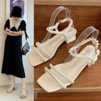 Sandals 35,36,37,38,39 Off white, khaki, blue PU Other / other Barefoot Square heel Middle heel (3-5cm) Summer 2021 Elastic band grace Solid color Adhesive shoes Youth (18-40 years old), general rubber daily Ankle strap Beading Low Gang Lateral space PU PU Flat buckle