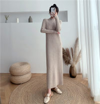 Dress Autumn 2020 Black, apricot, khaki S,M,L,XL longuette singleton  Long sleeves commute Half high collar middle-waisted Solid color Socket One pace skirt routine Others 25-29 years old Type H Korean version 6936-1 31% (inclusive) - 50% (inclusive) knitting other