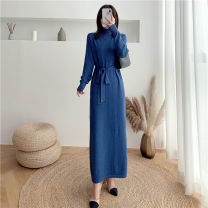 Dress Autumn 2020 Average size longuette singleton  Long sleeves commute High collar Solid color Pencil skirt routine 25-29 years old Type H Korean version Lace up 71% (inclusive) - 80% (inclusive) knitting