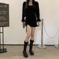 Dress Summer 2021 black S,M,L Short skirt singleton  Long sleeves commute square neck Solid color Socket pagoda sleeve 18-24 years old Type H Korean version Pleating