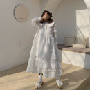 Dress Spring 2021 white S,M,L Mid length dress singleton  Long sleeves Sweet Doll Collar High waist Solid color A button Cake skirt routine Type A Embroidery, Auricularia auricula, splicing, three-dimensional decoration, wave, button, mesh, lace other hemp Mori
