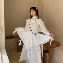 skirt Spring 2021 S,M,L white Mid length dress Sweet High waist A-line skirt Solid color Type A Poplin cotton Bowknot, three dimensional decoration solar system