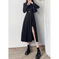 Dress Spring 2021 Black (split right) S,M,L longuette singleton  Long sleeves commute V-neck High waist Solid color Socket Ruffle Skirt routine Type X Britain 71% (inclusive) - 80% (inclusive) other