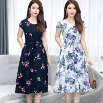 Dress Summer of 2019 Color 3, color 6, color 9, color 11, color 12, color 13, color 16, color 19 XL [100-115 Jin], 2XL [116-130 Jin], 3XL [131-145 Jin], 4XL [146-160 Jin], 5XL [161-180 Jin] Mid length dress singleton  Short sleeve commute Crew neck Elastic waist Broken flowers A-line skirt routine