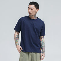 T-shirt Fashion City Blue, white, gray thin XL,L,M,XXL,XXXL,XXXXL Morgis Short sleeve Crew neck standard Other leisure summer youth Chinese style other 2019 Solid color badge hemp
