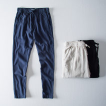 Casual pants Morgis Fashion City Black, Navy, linen XL,L,M,XXL,XXXL routine Ninth pants Other leisure Straight cylinder No bullet spring youth Chinese style 2019 middle-waisted Straight cylinder Tapered pants other Solid color other hemp hemp