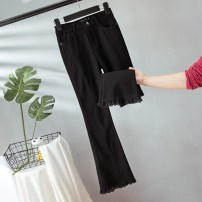 Women's large Summer 2020, spring 2020 black trousers singleton  commute Self cultivation moderate Solid color Korean version Three dimensional cutting Other / other Lace stitching Ninth pants