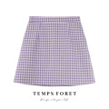 skirt Summer 2021 S,M,L Black, blue, purple, apricot Short skirt commute High waist A-line skirt lattice Type A 18-24 years old polyester fiber zipper Korean version