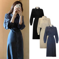 Dress Spring 2021 Blue, black, apricot S,M,L,XL Mid length dress singleton  Long sleeves commute Polo collar High waist Solid color Single breasted other shirt sleeve Others 25-29 years old Korean version Frenulum